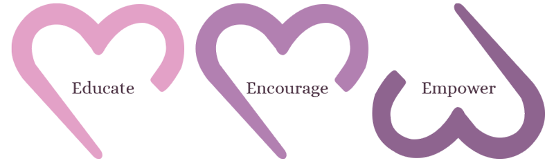 MomMe Wellness hearts - educate, encourage, empower